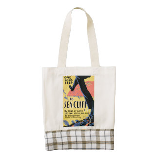 Just one long step to Sea Cliff Zazzle HEART Tote Bag