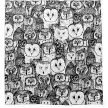 just owls black white shower curtain