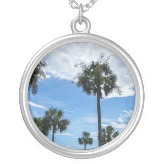 Just Palm Trees Round Pendant Necklace