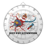 Just Pay Attention (Neuron / Synapse) Dartboard With Darts