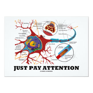 """Just Pay Attention (Neuron / Synapse) 5"""" X 7"""" Invitation Card"""