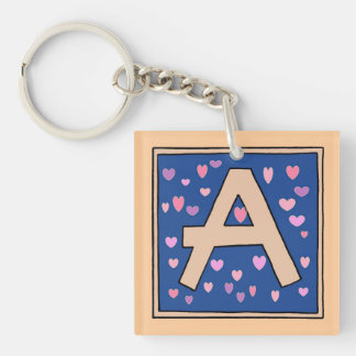 Just Peachy A-monogrammed keychain