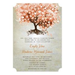Just Peachy Coral Heart Leaf Tree Wedding Invites 5