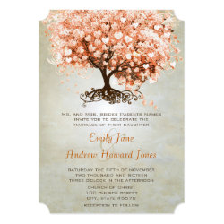 Just Peachy Coral Heart Leaf Tree Wedding Invites 5