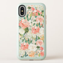 Just Peachy Watercolor Floral Pattern OtterBox Symmetry iPhone X Case
