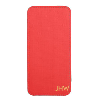 Just Plain Simple Solid Red or OptionaI Initials iPhone SE/5/5s/5c Pouch