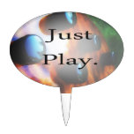 Just Play music design with tiger bass background Cake Picks