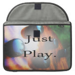 Just Play music design with tiger bass background Sleeve For MacBook Pro