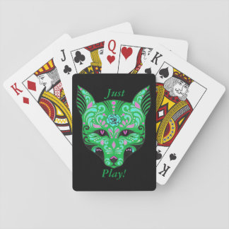 Just Play Sugar Skull Wolf Head Grn Playing Cards