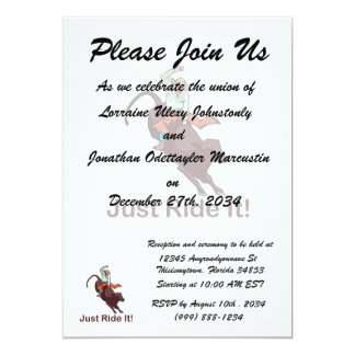 Just Ride It Cowboy and Bull 5x7 Paper Invitation Card