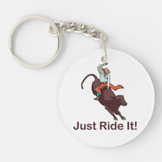 Just Ride It Cowboy and Bull Double-Sided Round Acrylic Keychain