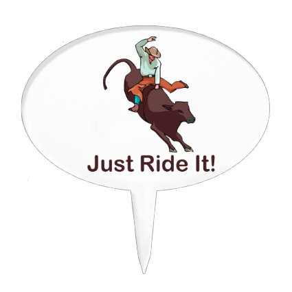 Just Ride It Cowboy and Bull Oval Cake Topper