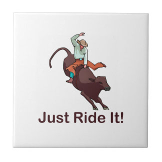 Just Ride It Cowboy and Bull Small Square Tile