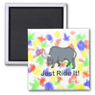 Just Ride it Grey Bull 2 Inch Square Magnet
