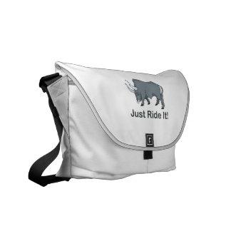Just Ride it Grey Bull Messenger Bag