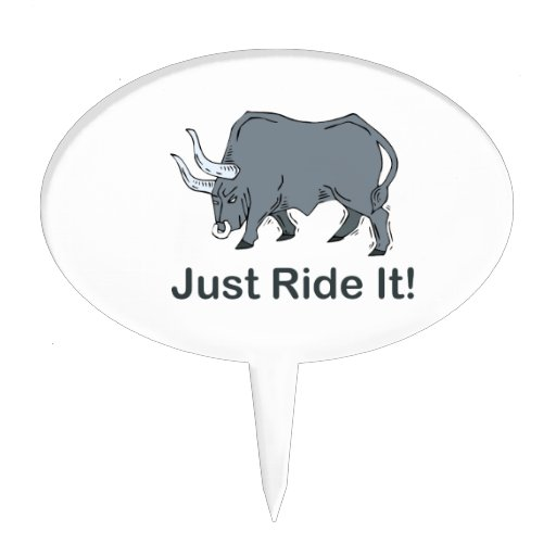 Just Ride it Grey Bull Oval Cake Toppers