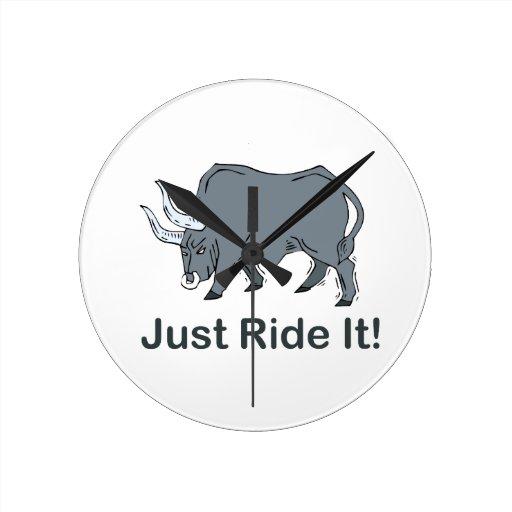 Just Ride it Grey Bull Wall Clocks