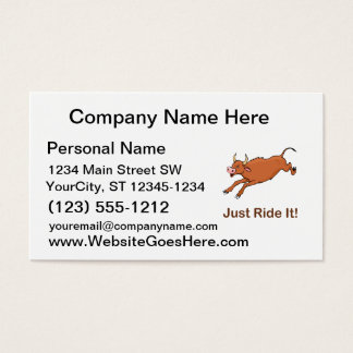 Just Ride It With Brown Bucking Bull Business Card