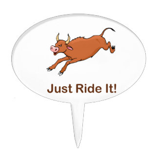Just Ride It With Brown bucking bull Cake Topper
