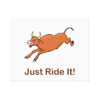 Just Ride It With Brown Bucking Bull Gallery Wrapped Canvas