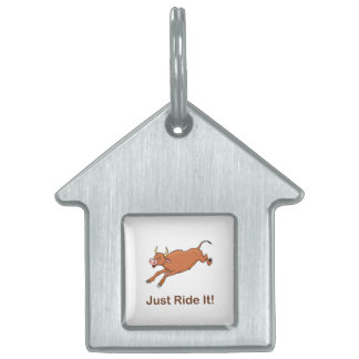 Just Ride It With Brown Bucking Bull Pet Tag