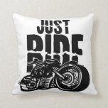 Just Ride Motorcycle Design Throw Pillow