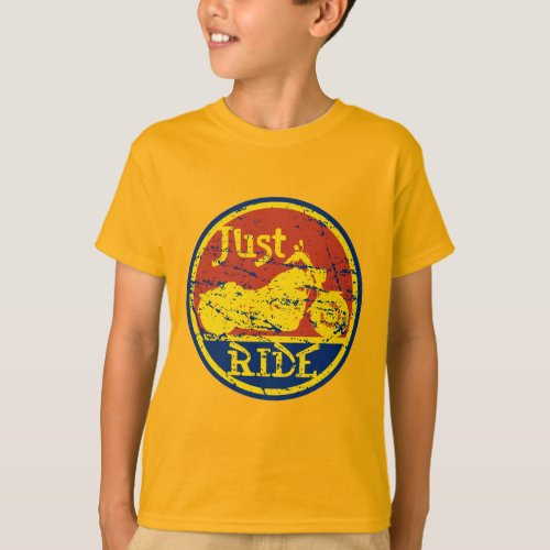 Just Ride Motorcycles Red Blue and Yellow T-Shirt