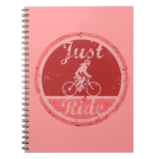 Just Ride Pink Paint Splashes Female Cyclist Note Books