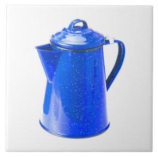 JUST RIGHT CERAMIC TILE-BRIGHT BLUE COFFEE POT! LARGE SQUARE TILE