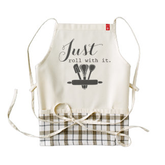 Just roll with it funny baking humor inspirational zazzle HEART apron