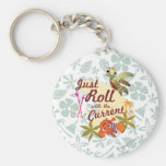 Just Roll with the Current Basic Round Button Keychain