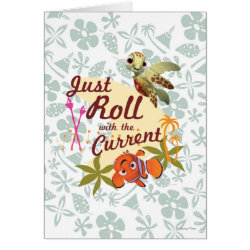 Greeting Card with Pixar's Finding Nemo with Squirt: Just Roll with the Current design