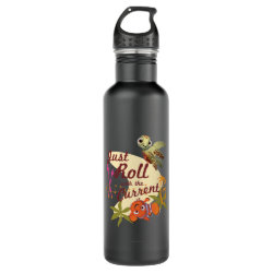 Water Bottle (24 oz) with Pixar's Finding Nemo with Squirt: Just Roll with the Current design