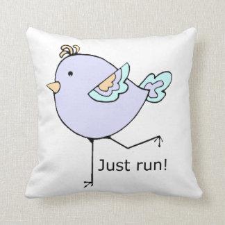 Just Run Cute Cartoon Running Chick Throw Pillow
