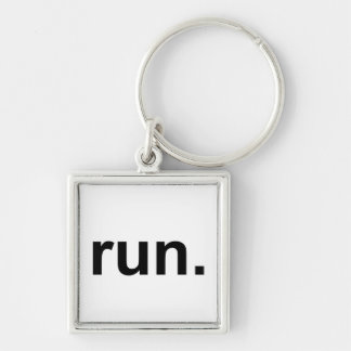Just Run Silver-Colored Square Keychain