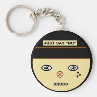 Just say no basic round button keychain