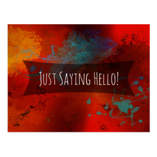 """""""Just Saying Hello"""" Red Abstract Digital Art Note Postcard"""