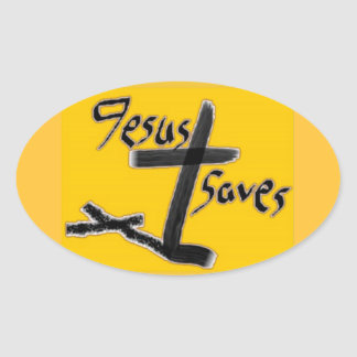 Just Saying...Jesus Saves Oval Sticker