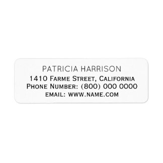 just simple & clean address information label