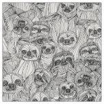 just sloths black white fabric