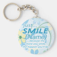 Just Smile Add a Name Basic Round Button Keychain