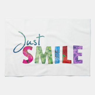 Just Smile Happy Quote #01 Hand Towels