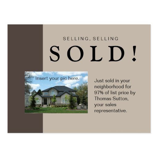 Just Sold Real Estate Postcard Taupe Zazzle