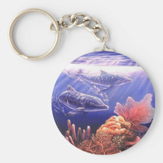 Just The Two Of Us Dolphins Art Basic Round Button Keychain