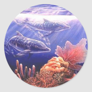 Just The Two Of Us Dolphins Art Classic Round Sticker