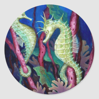 Just The Two Of Us - Seahorse Art Classic Round Sticker