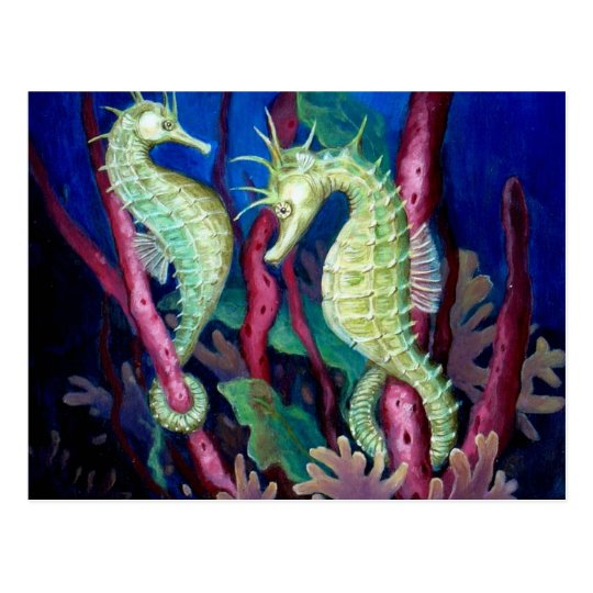 Just The Two Of Us - Seahorse Art Postcard