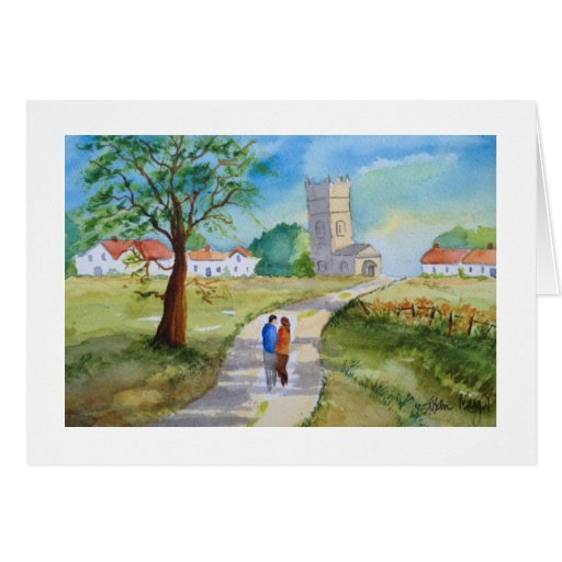 Just the Two of Us--Walking to Church Watercolor Card