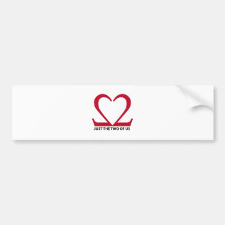 just the two us, red heart for Valentine's day Bumper Sticker