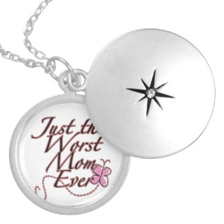 Just The Worst Mom Ever Silver Plated Necklace